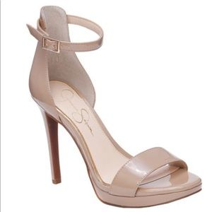 Jessica Simpson Nude Patent Leather Strappy heels